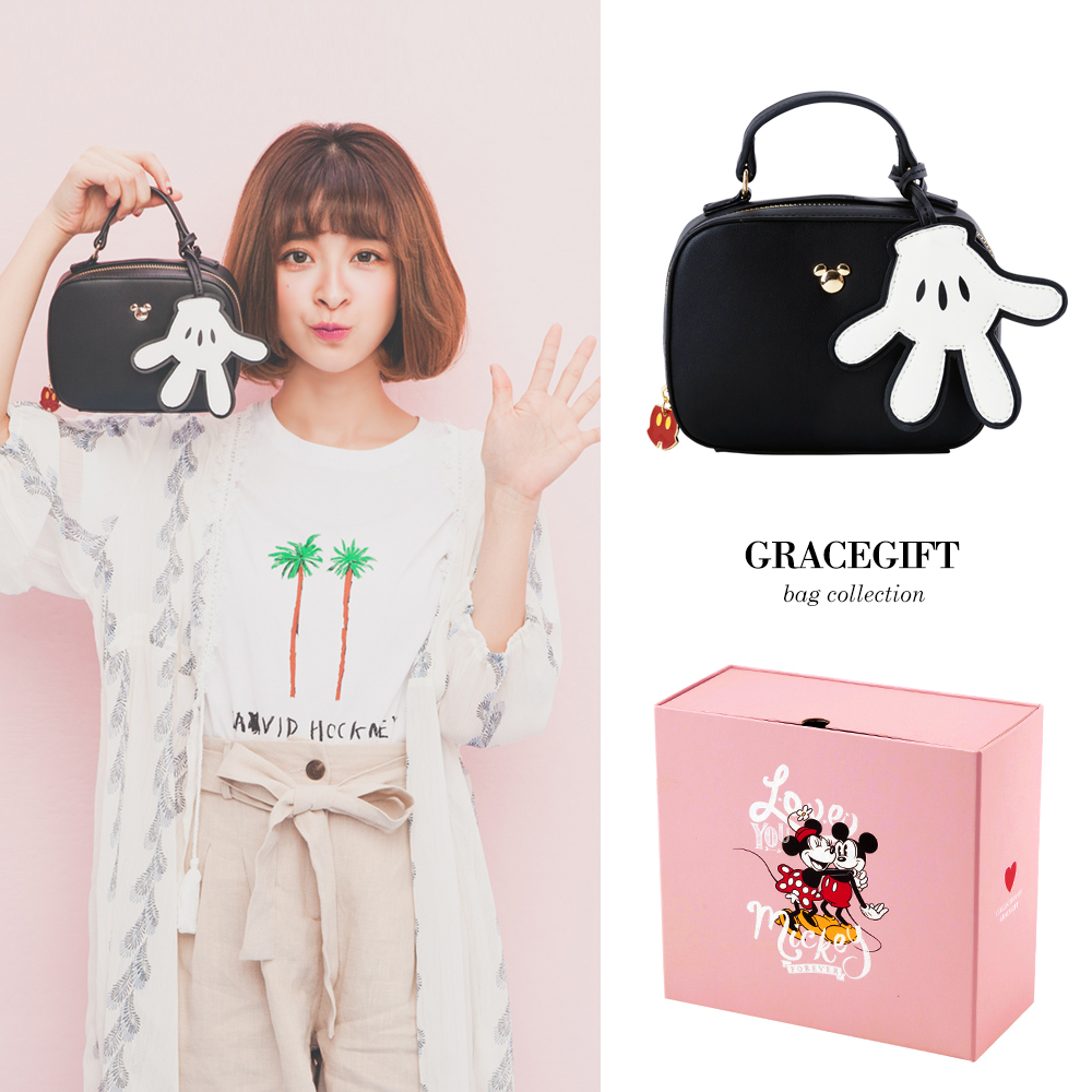 Disney collection by Grace gift-米奇吊飾2way鍊條側背包 黑