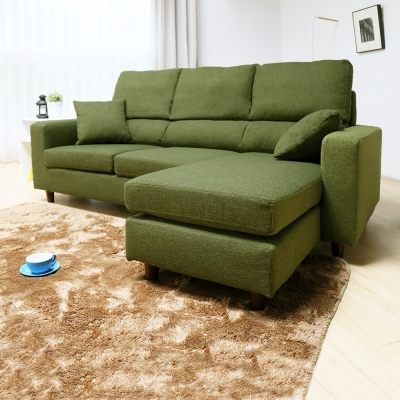 H&D 麥阿密高背獨立筒L型布質沙發-兩色可選