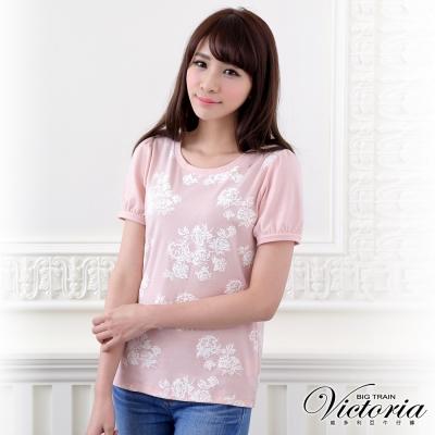 Victoria 發泡玫瑰印花短袖T-女-淺粉橘