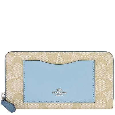 COACH 粉藍色大C PVC拉鍊十二卡長夾