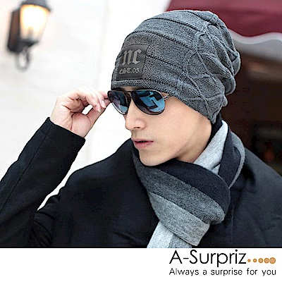 A-Surpriz 時尚NC徽章刷毛針織帽(淺灰)