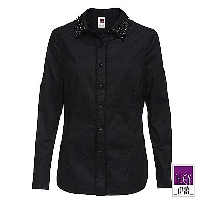 ILEY伊蕾 手工珠珠領片襯衫(黑)