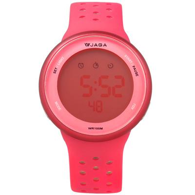 JAGA 捷卡  電子運動計時鬧鈴冷光照明透氣矽膠手錶-螢光粉灰色/43mm