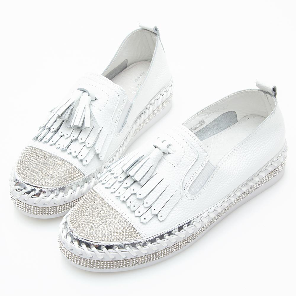Camille's 韓國空運-正韓製-鑽石厚底懶人鞋-流蘇款-白色