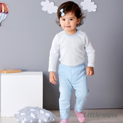Little moni 純棉家居系列素面長褲 亮天藍