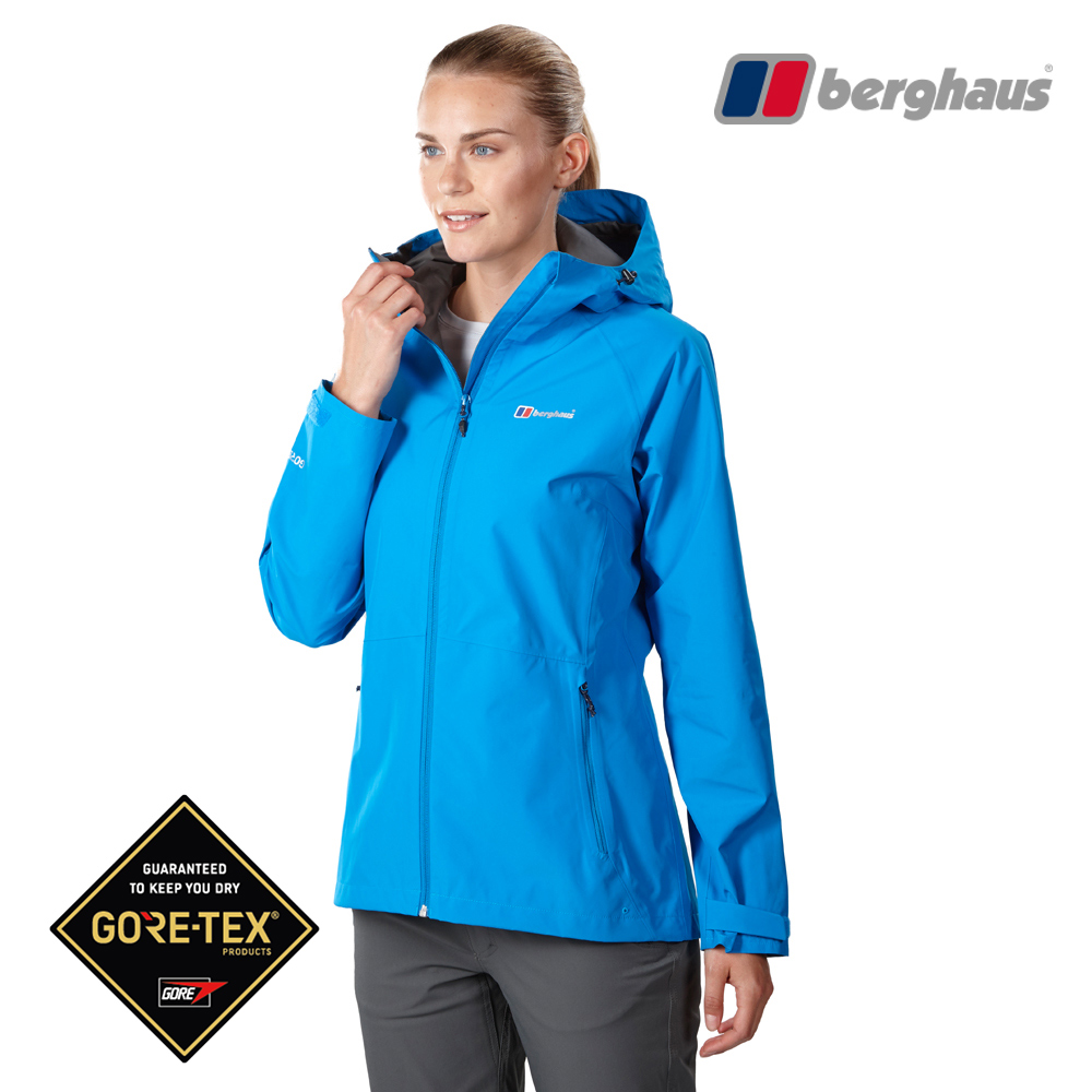 【Berghaus貝豪斯】女款GT輕量防水透氣連帽外套H22FS8潛水藍