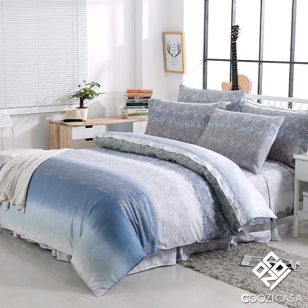 COOZICASA晴藍風海 特大四件式吸濕排汗兩用被六件式床罩組