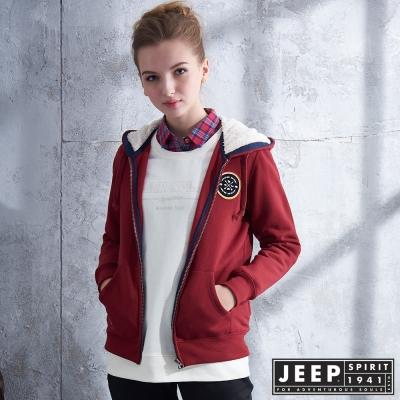 JEEP 女裝 簡約北極熊圖騰刷毛造型外套-紅