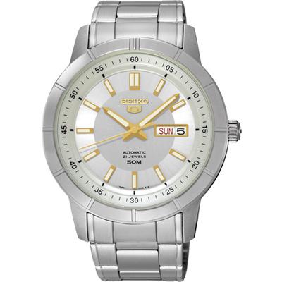 SEIKO 精工5號盾牌日曆機械錶(SNKN53J1)-銀x金時標/43mm