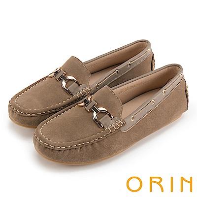 ORIN 復古樂活主義 頂級牛反毛金屬飾釦平底鞋-可可