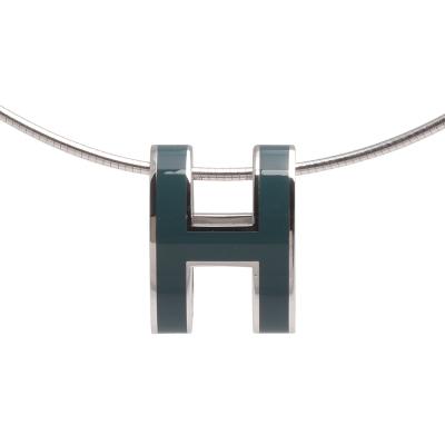 HERMES 經典立體H LOGO簍空橢圓項鍊 (藍綠X銀)