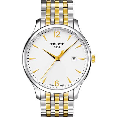 TISSOT Tradition 經典復刻大三針腕錶-銀白x雙色版/42mm