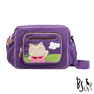 ABS貝斯貓 可愛貓咪拼布 肩背包 斜揹包 (紫) 88-203