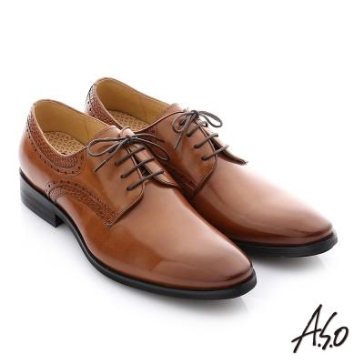 A.S.O 3D超動能 壓紋牛皮綁帶奈米紳士鞋 茶色