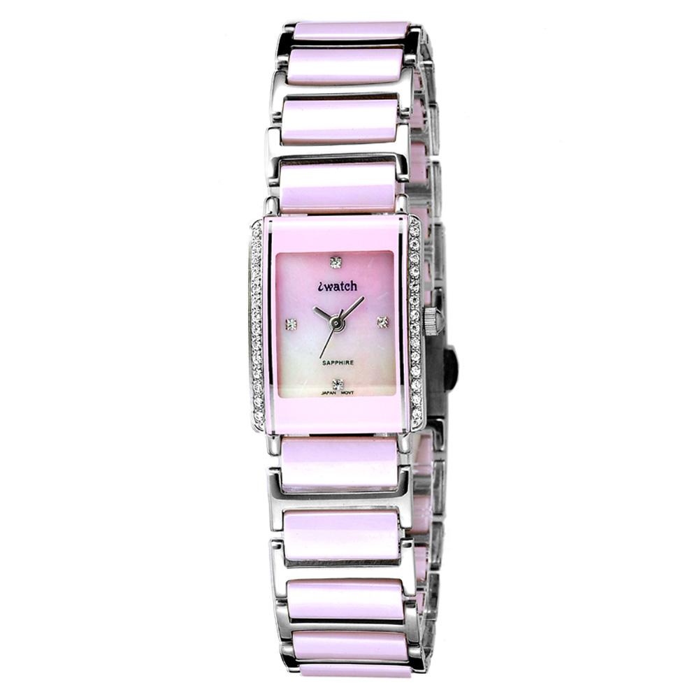 iwatch 方形粉紅晶鑽陶瓷腕錶-粉/19mm