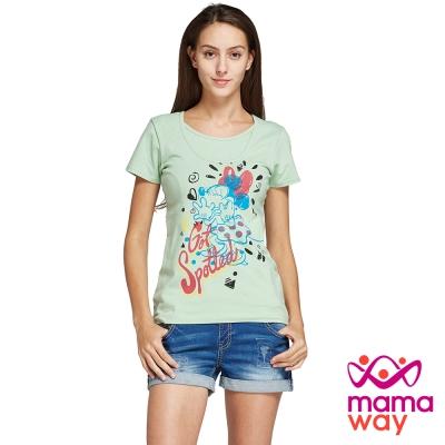 孕婦裝 哺乳衣 迪士尼歡樂米妮孕哺彈性棉T Mamaway
