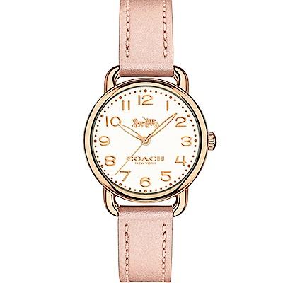 COACH 優雅質感玫瑰金皮帶腕錶/14502750