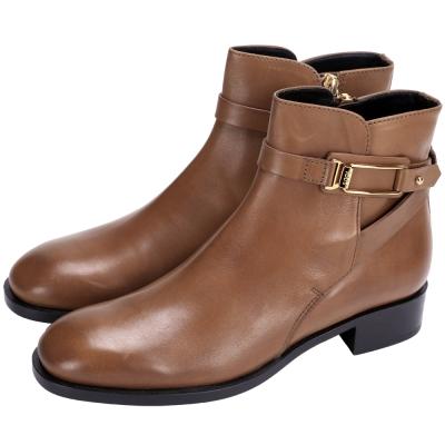 TOD'S 金框設計牛皮短靴(棕色)