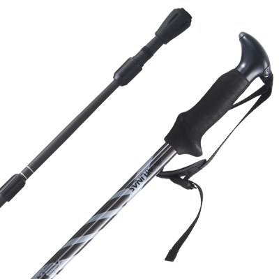 【ATUNAS 歐都納】碳纖維四節登山杖(輕量/避震/登山款 NSA201D 黑/灰 )