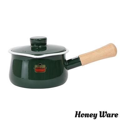 日本-富士Honey-Ware-琺瑯牛奶鍋15cm-綠-附蓋