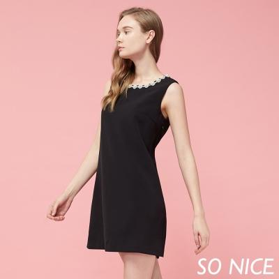 SO NICE氣質珍珠領設計洋裝-動態show