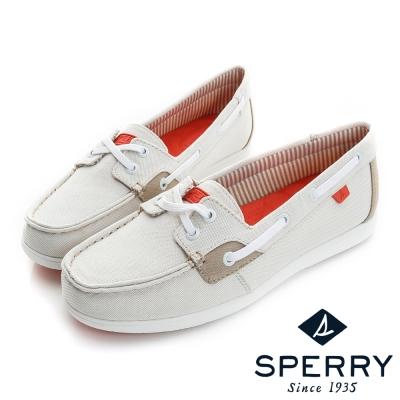 SPERRY超輕量舒適休閒布面帆船鞋(象牙白)