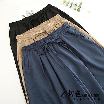 簡約休閒綁帶鬆緊闊腿褲-共3色(F可選)     初色