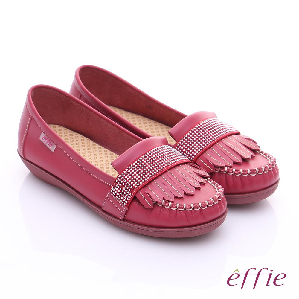 effie 縫線包仔鞋 牛皮流蘇水鑽織帶奈米休閒鞋 紅