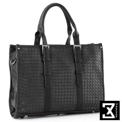 74盎司 WEAVE系列-手工編織側背包/手提包/公事包[G-617]黑