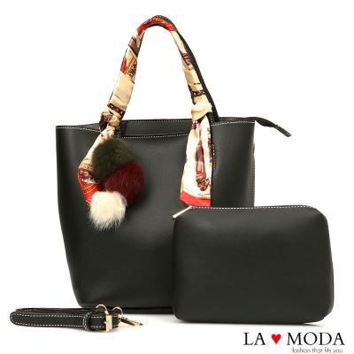 La Moda 熱銷推薦百搭毛球緞帶手把肩背托特子母包(黑)