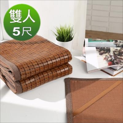《BuyJM》天然炭化3D立體透氣網墊款雙人5尺專利麻將竹涼蓆/附鬆緊帶款