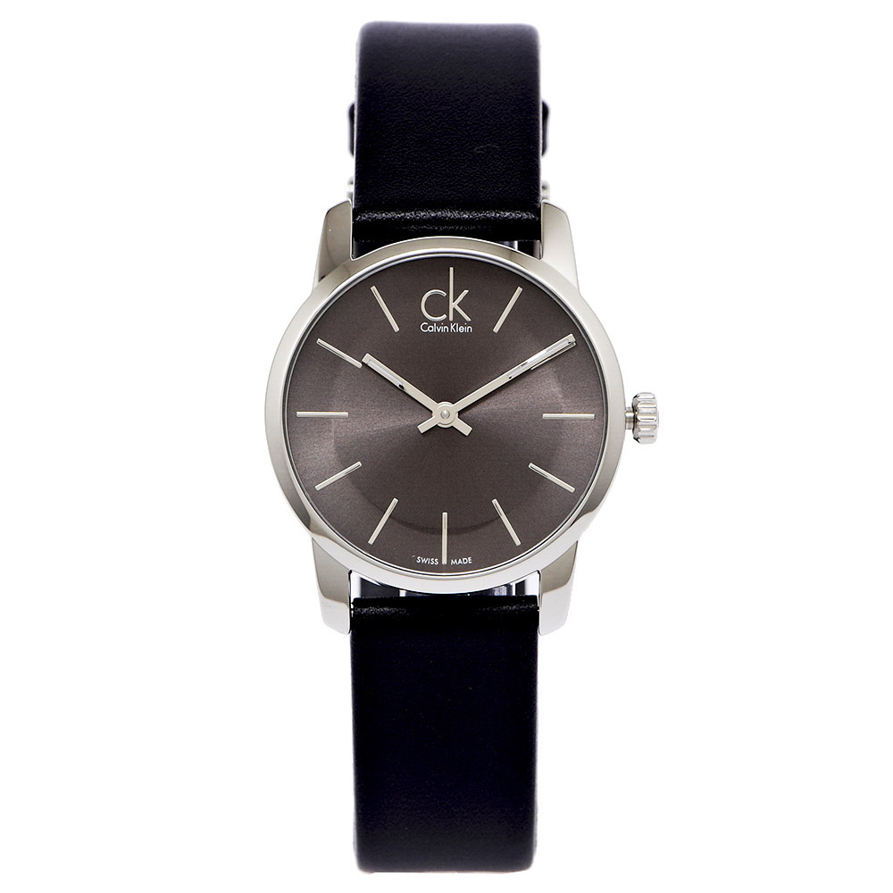 CK經典款極簡女生皮革手錶K2G23107-灰黑面x黑色32mm