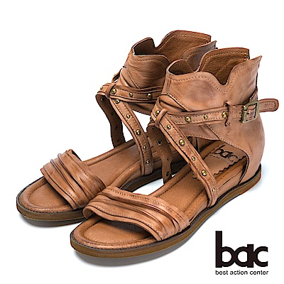 bac復古時尚帥氣鉚釘真皮羅馬涼鞋-棕色