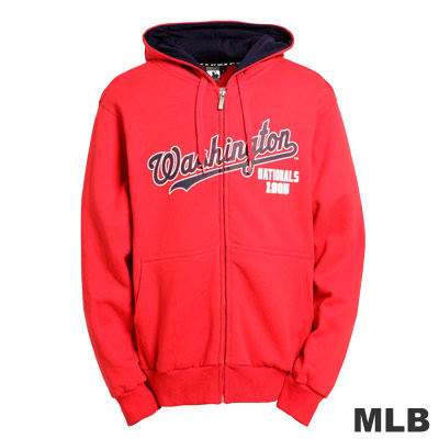 MLB-華盛頓國民隊厚棉連帽外套-紅(男)