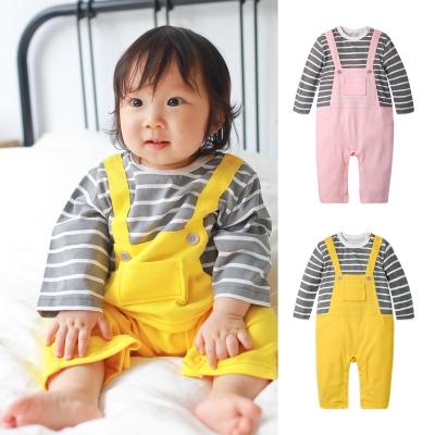 baby童衣 假二件吊帶條紋長袖連身衣 70064