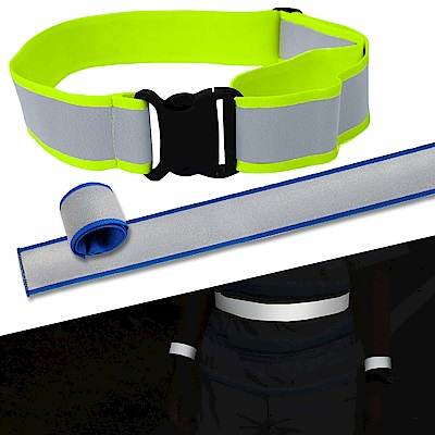 Yenzch 安全反光組/3M Scotchlite/S腰帶+手腕帶(藍色 2入)