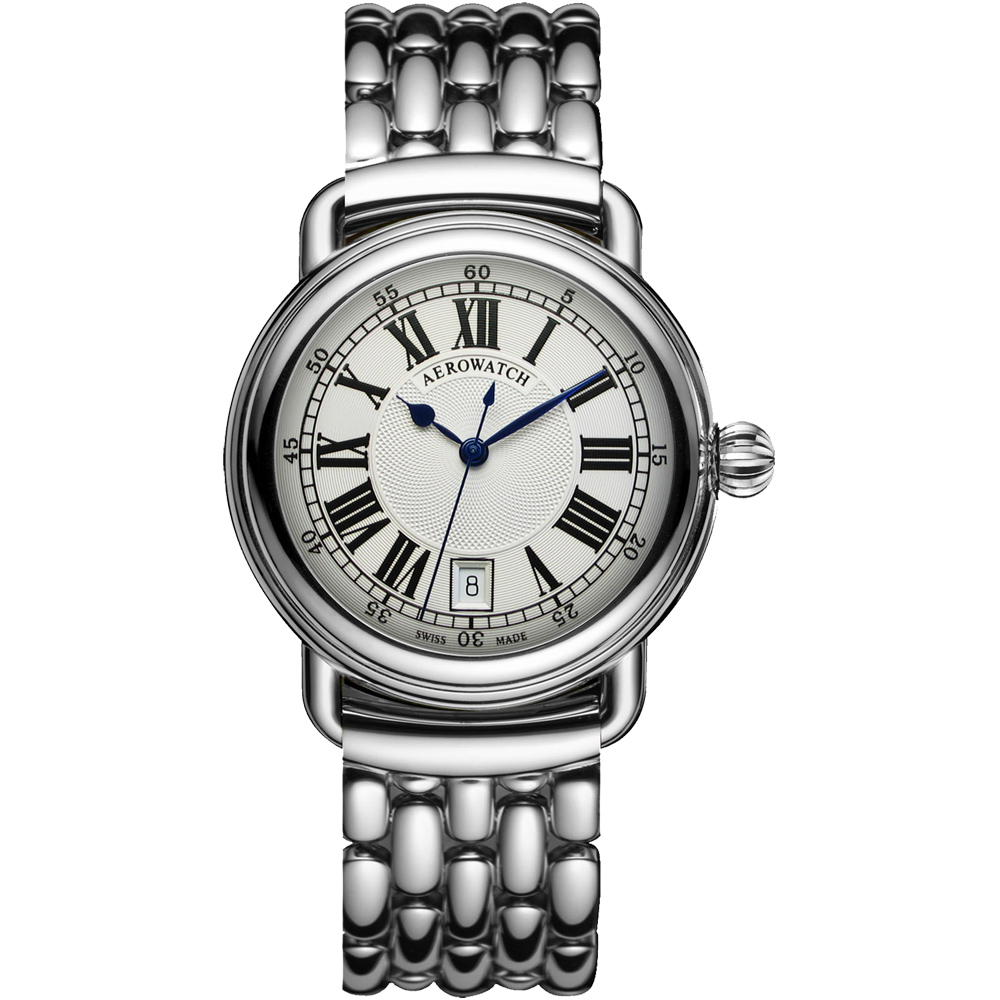 AEROWATCH Elegance 羅馬復刻機械腕錶-銀/40mm