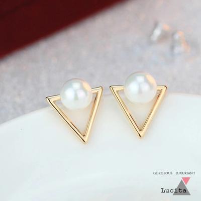 LuciTA  時尚空運新款 幾何造型珍珠耳環 金色款