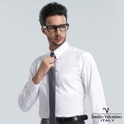 Emilio Valentino 范倫提諾仿天絲條紋長袖襯衫-白