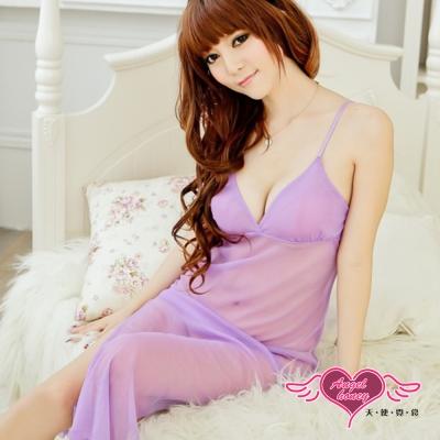 睡衣-夜色迷情-性感連身睡衣組-淺紫-黑-天使霓裳