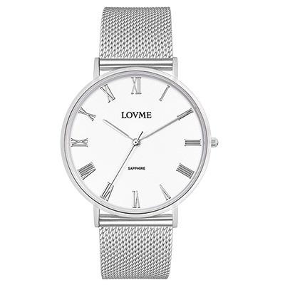 LOVME 學院風米蘭時尚手錶-白/41mm