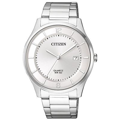 CITIZEN 不鏽鋼錶帶紳士商務男仕手錶(BD0041-89A)-白/39mm