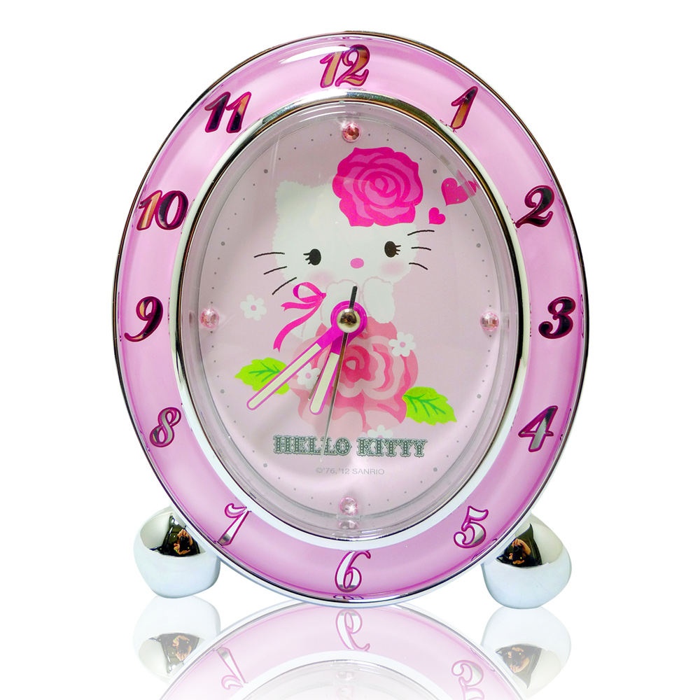 Hello Kitty玫瑰花語靜音貪睡鬧鐘 JM-E347KT-P