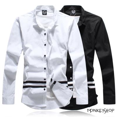 小猴子的賣場 韓版潮感對比腰線印花長袖襯衫-2色