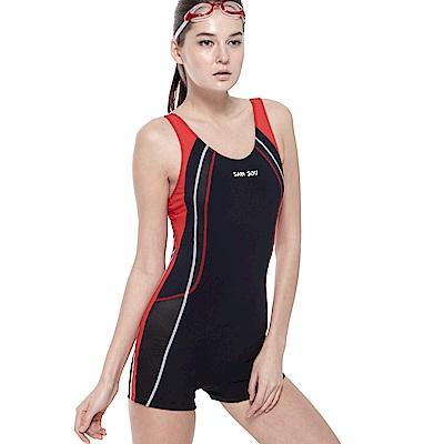 聖手牌 泳裝 曲線紋飾連身四角女泳裝