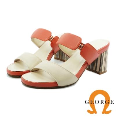 GEORGE 喬治-全真皮質感飾釦木紋粗跟涼鞋(女)-裸粉色
