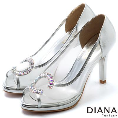 DIANA-精品工藝-時尚透明托斯細網魚口跟鞋-銀