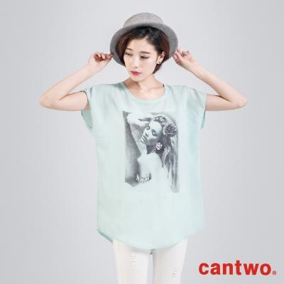 cantwo雪紡印刷人物燙鑽長版上衣(共二色)