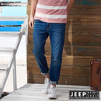 JEEP 美式經典刷色牛仔長褲 -藍色