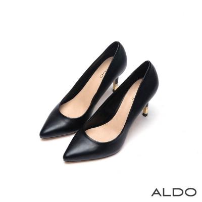 ALDO 魅惑原色尖頭金屬鑲嵌細高跟鞋~尊爵黑色